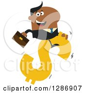 Clipart Of A Modern Flat Design Of A Black Businessman Riding A Dollar Currency Symbol Royalty Free Vector Illustration by Hit Toon