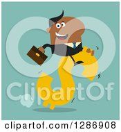 Clipart Of A Modern Flat Design Of A Black Businessman Riding A Dollar Currency Symbol On Turquoise Royalty Free Vector Illustration