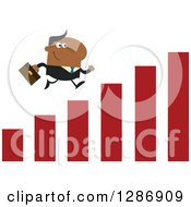 Clipart Of A Modern Flat Design Of A Black Businessman Running Up A Growth Bar Graph Royalty Free Vector Illustration by Hit Toon