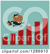 Clipart Of A Modern Flat Design Of A Black Businessman Running Up A Growth Bar Graph Over Turquoise Royalty Free Vector Illustration
