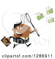 Clipart Of A Modern Flat Design Of A Black Businessman Chasing Flying Cash Money With A Net Royalty Free Vector Illustration