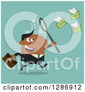 Clipart Of A Modern Flat Design Of A Black Businessman Chasing Flying Cash Money With A Net Over Turquoise Royalty Free Vector Illustration