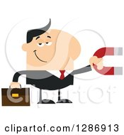 Clipart Of A Modern Flat Design Of A White Businessman Holding A Magnet Royalty Free Vector Illustration by Hit Toon