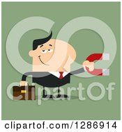 Clipart Of A Modern Flat Design Of A White Businessman Holding A Magnet Over Green Royalty Free Vector Illustration by Hit Toon
