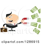 Clipart Of A Modern Flat Design Of A White Businessman Holding A Magnet And Drawing In Money Royalty Free Vector Illustration
