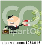 Clipart Of A Modern Flat Design Of A White Businessman Holding A Magnet And Drawing In Money Over Green Royalty Free Vector Illustration