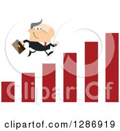 Clipart Of A Modern Flat Design Of A White Businessman Running Up A Growth Bar Graph Royalty Free Vector Illustration