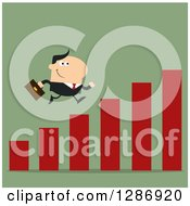 Clipart Of A Modern Flat Design Of A White Businessman Running Up A Growth Bar Graph On Green Royalty Free Vector Illustration