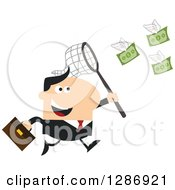 Clipart Of A Modern Flat Design Of A White Businessman Chasing Flying Cash Money With A Net Royalty Free Vector Illustration