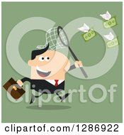 Clipart Of A Modern Flat Design Of A White Businessman Chasing Flying Cash Money With A Net Over Green Royalty Free Vector Illustration