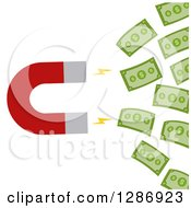 Clipart Of A Modern Flat Design Of A Magnet Drawing In Cash Money Royalty Free Vector Illustration