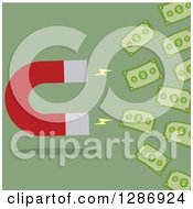 Clipart Of A Modern Flat Design Of A Magnet Drawing In Cash Money Over Green Royalty Free Vector Illustration by Hit Toon