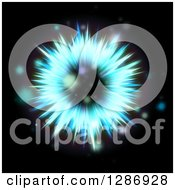 Clipart Of A Blue Solar Fractal Burst Explosion And Flares On Black Royalty Free Illustration