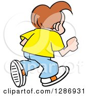 Clipart Of A Casual Brunette Caucasian Boy Walking Away Royalty Free Vector Illustration