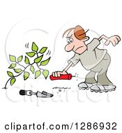 Clipart Of An Angry Brunette Caucasian Man Laying A Stick Of Dynamite By A Weed Royalty Free Vector Illustration by Johnny Sajem