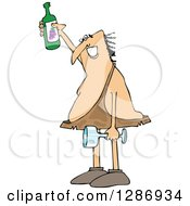 Clipart Of A Happy Caveman Holding Up A Wine Bottle A Glass In One Hand Royalty Free Vector Illustration by djart