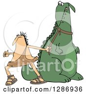 Clipart Of A Frustrated Caveman Pulling In His Stubborn Dinosaurs Leash Royalty Free Vector Illustration by djart