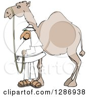 Clipart Of An Arab Man Standing By His Pet Camel Royalty Free Vector Illustration