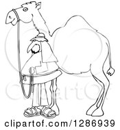 Clipart Of A Black And White Man Standing By His Pet Camel Royalty Free Vector Illustration by djart