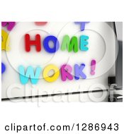 Clipart Of 3d Colorful Magnets Spelling Out HOME WORK On A Refrigerator Royalty Free Illustration by stockillustrations