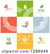 Clipart Of Flat Design Beauty And Wellness Logo Icons With Text On Colorful Tiles Royalty Free Vector Illustration by elena