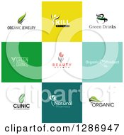 Flat Design Organic Business Logo Icons With Text On Colorful Tiles