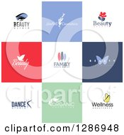 Flat Design Beauty Business Logo Icons With Text On Colorful Tiles