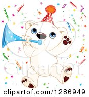 Clipart Of A Cute Polar Bear Cub Jumping With A Horn And Party Confetti Royalty Free Vector Illustration