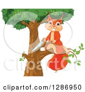 Clipart Of A Cute Happy Squirrel Sawing A Branch Off Of A Tree Royalty Free Vector Illustration