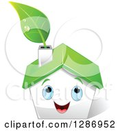 Clipart Of A Happy White House With Blue Eyes A Green Roof And Leaf In The Chimney Royalty Free Vector Illustration