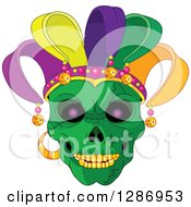 Clipart Of A Green Mardi Gras Skull With A Jester Hat Royalty Free Vector Illustration by Pushkin
