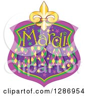 Clipart Of A Mardi Gras Shield With A Gold Fleur De Lis Royalty Free Vector Illustration by Pushkin