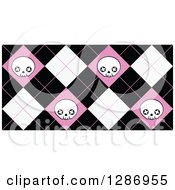 Pink Black And White Skull Diamond Pattern