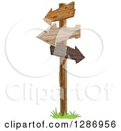Post With Wooden Arrow Signs Pointing In Different Directions