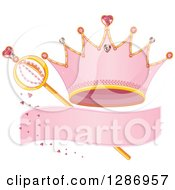Clipart Of A Pink Princess Tiara Crown Blank Banner Hearts And Magic Wand Royalty Free Vector Illustration