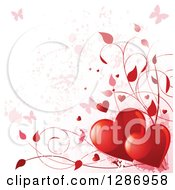 Valentines Day Background Of Red Shiny Hearts Vines And Pink Grunge With Butterflies