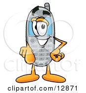 Clipart Picture Of A Wireless Cellular Telephone Mascot Cartoon Character Pointing At The Viewer by Toons4Biz
