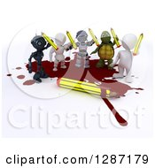 Clipart Of 3d Men Robots And Tortoise Cartoonists Standing In A Puddle Of Blood And Holding Up Pencils Royalty Free Illustration by KJ Pargeter