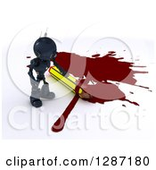 Clipart Of A 3d Blue Android Robot Cartoonist Standing By A Puddle Of Blood And A Pencil Royalty Free Illustration by KJ Pargeter