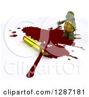 Clipart Of A 3d Tortoise Cartoonist Standing In A Puddle Of Blood By A Pencil Royalty Free Illustration by KJ Pargeter