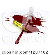 Clipart Of A 3d White Character Cartoonist Standing In A Puddle Of Blood By A Pencil Royalty Free Illustration by KJ Pargeter