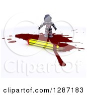 Clipart Of A 3d Robot Cartoonist Standing In A Puddle Of Blood By A Pencil Royalty Free Illustration by KJ Pargeter