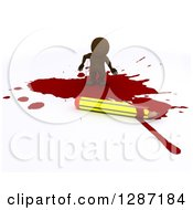 Clipart Of A 3d Brown Man Cartoonist Standing In A Puddle Of Blood By A Pencil Royalty Free Illustration by KJ Pargeter