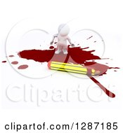 Clipart Of A 3d White Man Cartoonist Standing In A Puddle Of Blood By A Pencil Royalty Free Illustration by KJ Pargeter