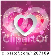 Clipart Of A Hearts With Happy Valentines Day Text Over Pink With Flares Royalty Free Vector Illustration by KJ Pargeter