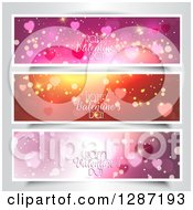 Clipart Of Sparkly Website Banner Headers With Happy Valentines Day Text Over Gray Royalty Free Vector Illustration