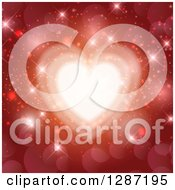 Clipart Of A Shining Heart Over Sparkles And Flares On Red Royalty Free Vector Illustration by KJ Pargeter