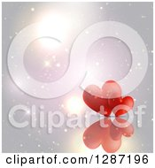 Clipart Of Two Red Hearts And A Reflection Over Flares Royalty Free Vector Illustration