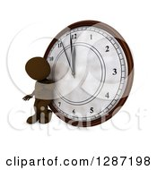 Clipart Of A 3d Brown Man Checking His Watch And Leaning Against A New Year Clock Approaching Midnight Royalty Free Illustration