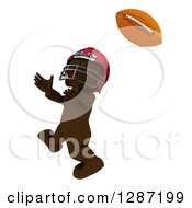 Clipart Of A 3d Brown Man In A Red Helmet Catching A Football Royalty Free Illustration
